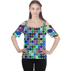 Geometric Background Colorful Cutout Shoulder Tee