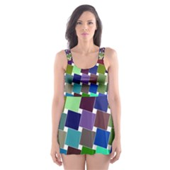 Geometric Background Colorful Skater Dress Swimsuit