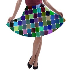 Geometric Background Colorful A Line Skater Skirt