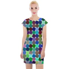 Geometric Background Colorful Cap Sleeve Bodycon Dress