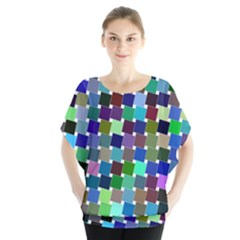 Geometric Background Colorful Batwing Chiffon Blouse