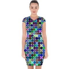 Geometric Background Colorful Capsleeve Drawstring Dress