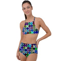 Geometric Background Colorful High Waist Tankini Set