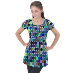 Geometric Background Colorful Puff Sleeve Tunic Top