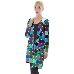 Geometric Background Colorful Hooded Pocket Cardigan by HermanTelo