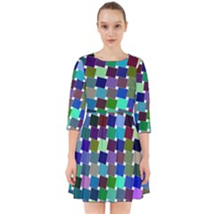 Geometric Background Colorful Smock Dress