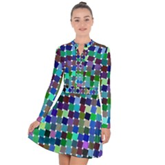 Geometric Background Colorful Long Sleeve Panel Dress