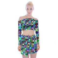 Geometric Background Colorful Off Shoulder Top With Mini Skirt Set