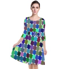 Geometric Background Colorful Quarter Sleeve Waist Band Dress