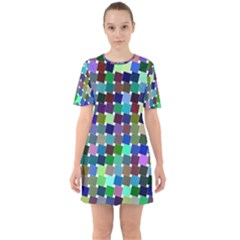 Geometric Background Colorful Sixties Short Sleeve Mini Dress