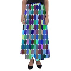 Geometric Background Colorful Flared Maxi Skirt