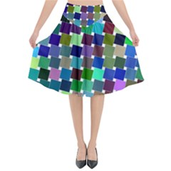 Geometric Background Colorful Flared Midi Skirt