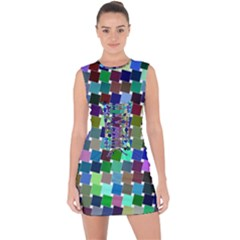 Geometric Background Colorful Lace Up Front Bodycon Dress