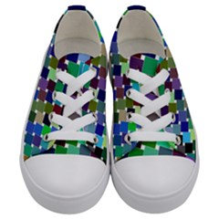 Geometric Background Colorful Kids  Low Top Canvas Sneakers