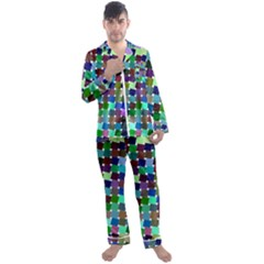 Geometric Background Colorful Men s Satin Pajamas Long Pants Set
