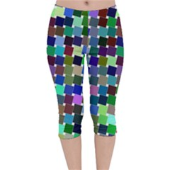 Geometric Background Colorful Velvet Capri Leggings