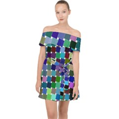 Geometric Background Colorful Off Shoulder Chiffon Dress
