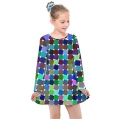 Geometric Background Colorful Kids  Long Sleeve Dress