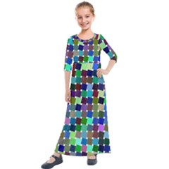 Geometric Background Colorful Kids  Quarter Sleeve Maxi Dress by HermanTelo