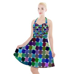 Geometric Background Colorful Halter Party Swing Dress