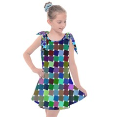 Geometric Background Colorful Kids  Tie Up Tunic Dress