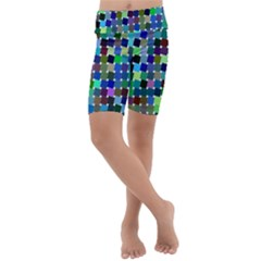 Geometric Background Colorful Kids  Lightweight Velour Cropped Yoga Leggings