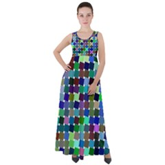 Geometric Background Colorful Empire Waist Velour Maxi Dress