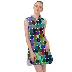 Geometric Background Colorful Sleeveless Shirt Dress