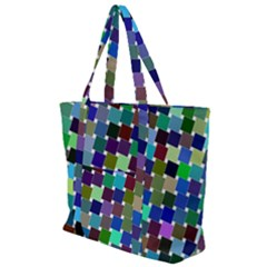 Geometric Background Colorful Zip Up Canvas Bag