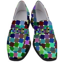 Geometric Background Colorful Women s Chunky Heel Loafers
