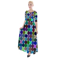 Geometric Background Colorful Half Sleeves Maxi Dress