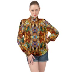 Ml C6 2 High Neck Long Sleeve Chiffon Top