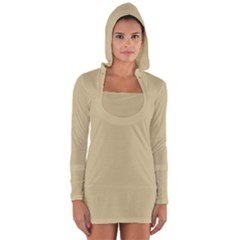 Cream Long Sleeve Hooded T-shirt by designsbyamerianna