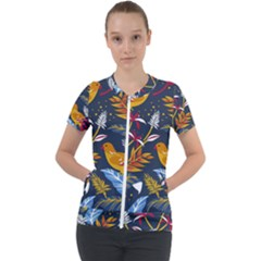 Colorful Birds In Nature Short Sleeve Zip Up Jacket