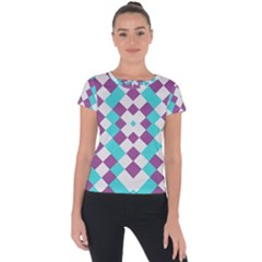 Texture Violet Short Sleeve Sports Top  by Alisyart