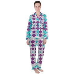 Texture Violet Satin Long Sleeve Pyjamas Set