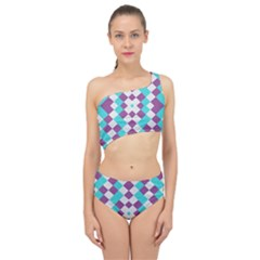 Texture Violet Spliced Up Two Piece Swimsuit by Alisyart