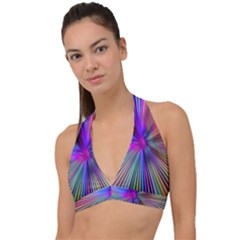Rays Colorful Laser Halter Plunge Bikini Top by AnjaniArt