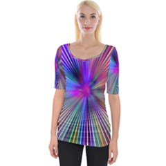 Rays Colorful Laser Wide Neckline Tee by AnjaniArt