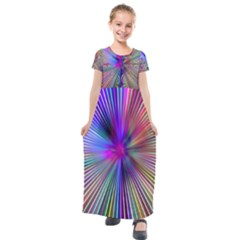Rays Colorful Laser Kids  Short Sleeve Maxi Dress by AnjaniArt