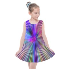 Rays Colorful Laser Kids  Summer Dress by AnjaniArt