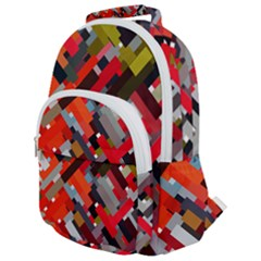 Maze Abstract Texture Rainbow Rounded Multi Pocket Backpack