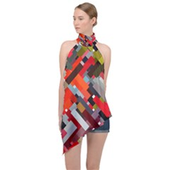 Maze Abstract Texture Rainbow Halter Asymmetric Satin Top by Jojostore