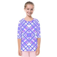 Geometric Plaid Purple Blue Kids  Quarter Sleeve Raglan Tee