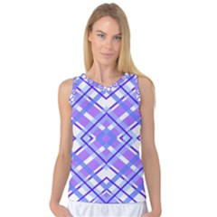 Geometric Plaid Purple Blue Women s Basketball Tank Top