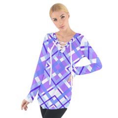 Geometric Plaid Purple Blue Tie Up Tee