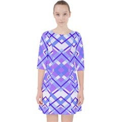 Geometric Plaid Purple Blue Pocket Dress