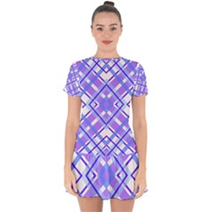 Geometric Plaid Purple Blue Drop Hem Mini Chiffon Dress