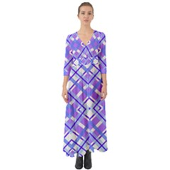 Geometric Plaid Purple Blue Button Up Boho Maxi Dress by Mariart
