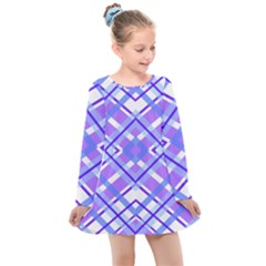 Geometric Plaid Purple Blue Kids  Long Sleeve Dress by Mariart